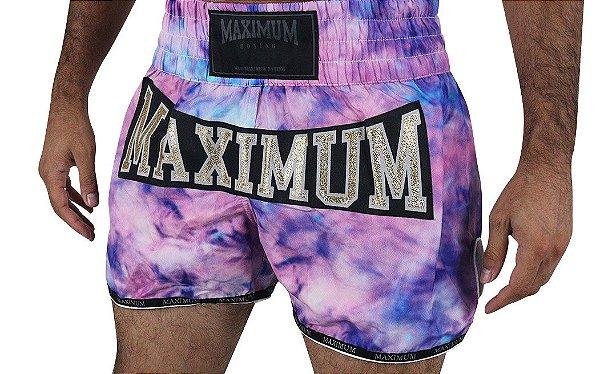 Shorts de Muay Thai Maximum Tie Dye Roxo - Logo Dourado