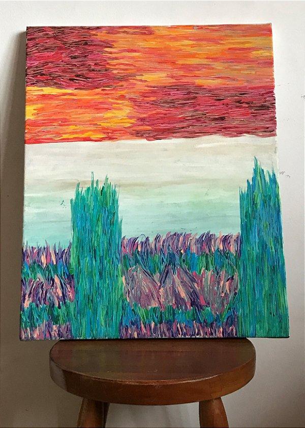Quadro abstrato pintado à mão - Céu de Fogo