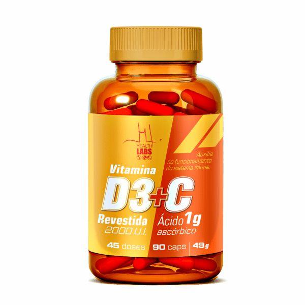 Vitamina D3 2000 UI + vit. C 90capsulas HEALTH LABS