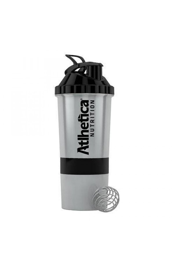 Coqueteleira 3 Compartimentos Prata (600ml) - Atlhetica Nutrition
