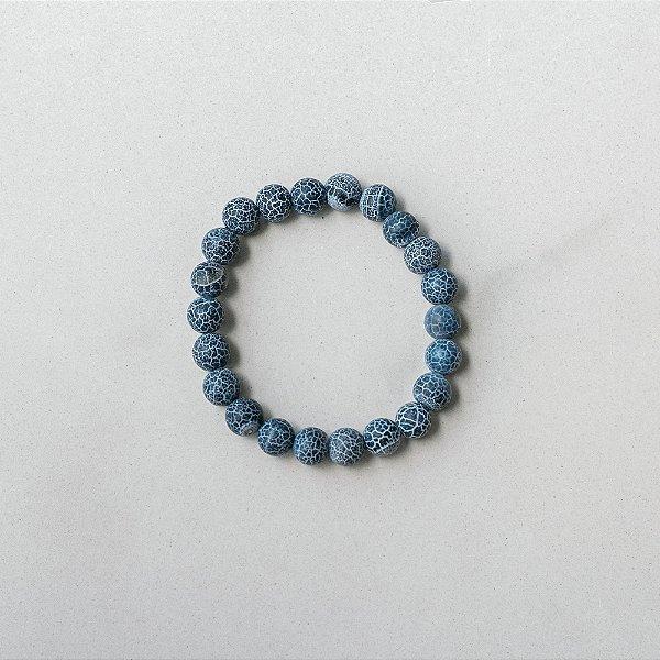 Pulseira Shiva Ágata Botswana Craquelada Azul 8mm