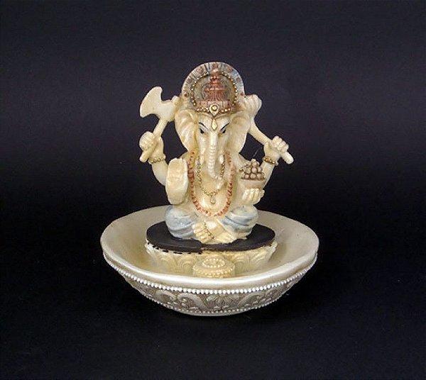 Incensario Ganesha Marfim - 10cm