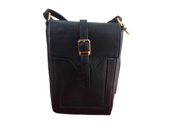 Bolsa carteira preta com alça fixa