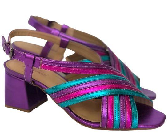 Sandália Metalizada Roxo, Turqueza e Pink