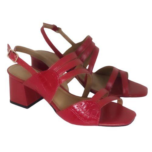 Sandália Vermelha com Croco Vermelho
