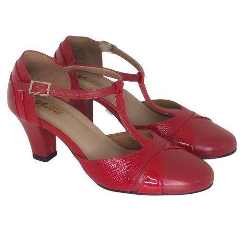 Sapato Dança Boneca Vermelho com Croco Vermelho