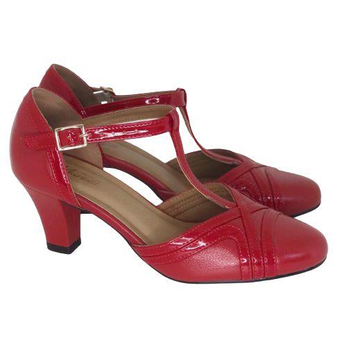 Sapato Dança Boneca Vermelho com Verniz Vermelho