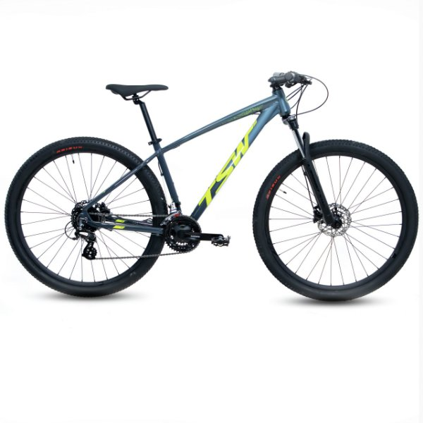 Bicicleta Alum 29 TSW Hunch 24 Vel Altus Hidráulico Cinza/Verde