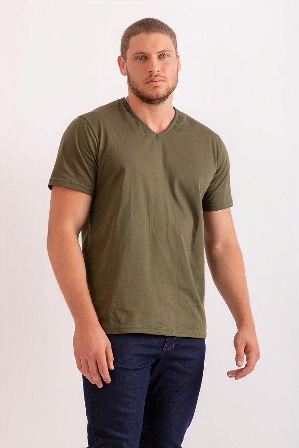 Camiseta básica gola V verde militar