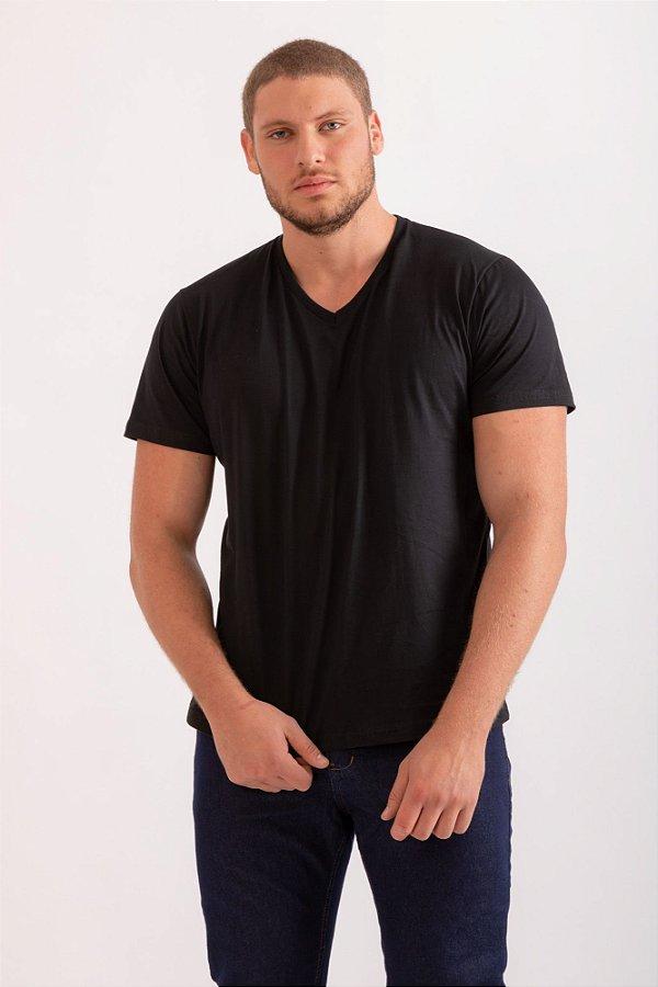 Camiseta básica gola V preta