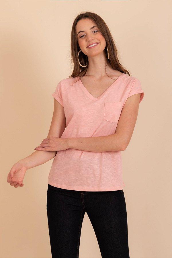 Camiseta Pochê rose