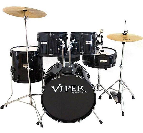 """Bateria X-Pro Viper 20"""" Preta com Banco e Pratos"""