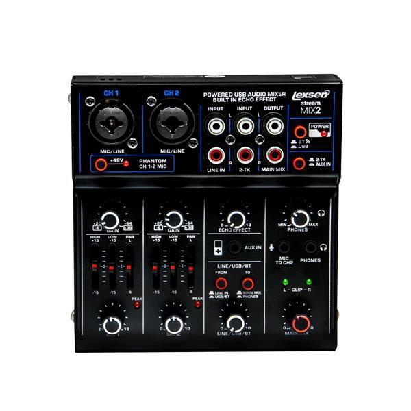 Mesa de Som Lexsen com Interface Stream Mix 2 USB