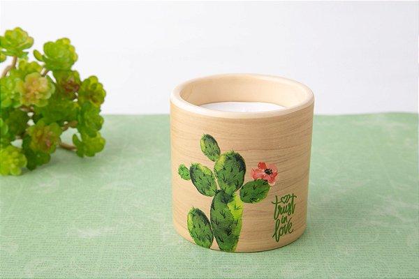 Vela Vaso Cerâmica Cactos