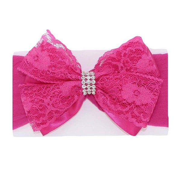 Faixa de Cabelo Renda Rosa Pink
