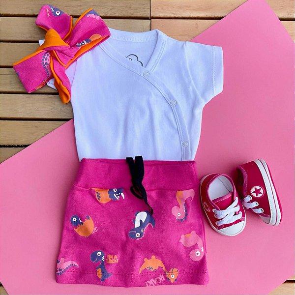 Kit Body Kimono Bebê com Mini Saia e Tênis Rosa