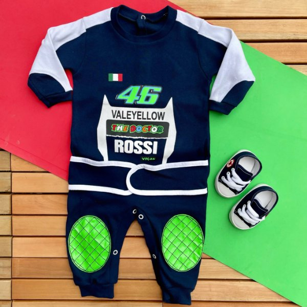 Kit Macacão Bebê Valentino Rossi Moto GP e Tênis Azul Marinho