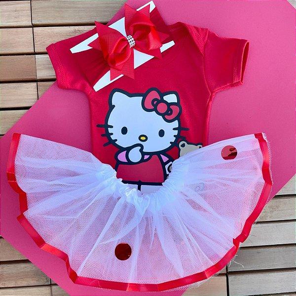 Kit Body Bebê Luxo Tule Hello Kitty