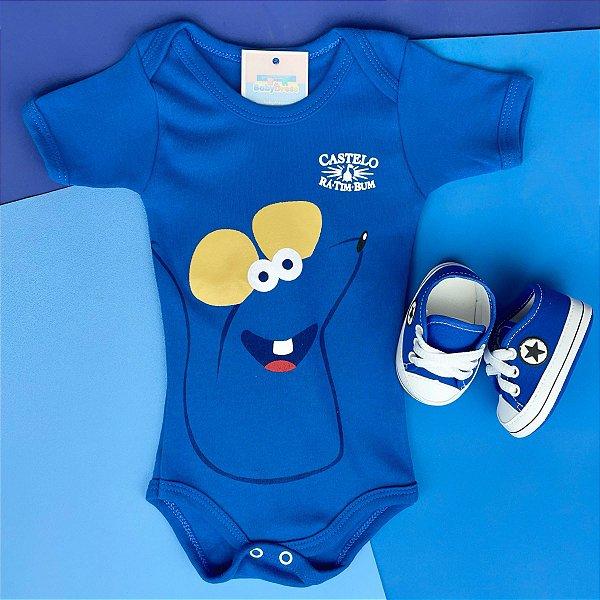 Kit Body Bebê Ratinho Castelo Rá-Tim-Bum e Tênis Azul