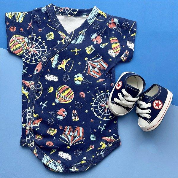 Kit Body Kimono Bebê Circo Azul com Tênis Estrelinha