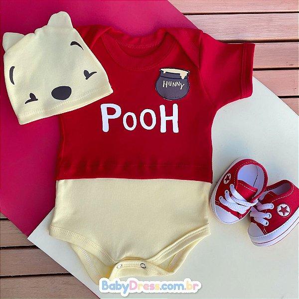 Kit Body Bebê Ursinho Pooh com Touquinha e Tênis Vermelho