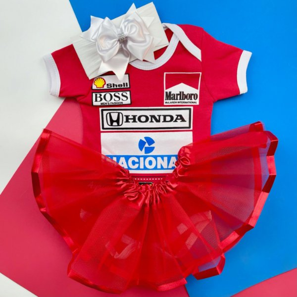 Kit Body Bebê Luxo Tule Fórmula 1 Ayrton Senna Menina