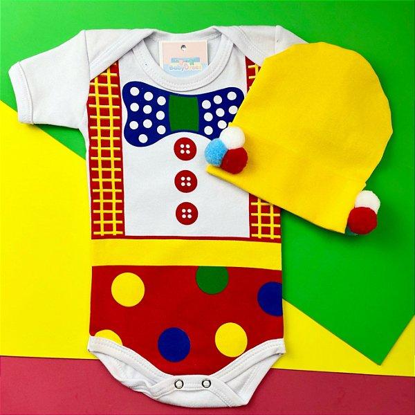 Body Bebê Palhacinho com Touquinha Pom pom
