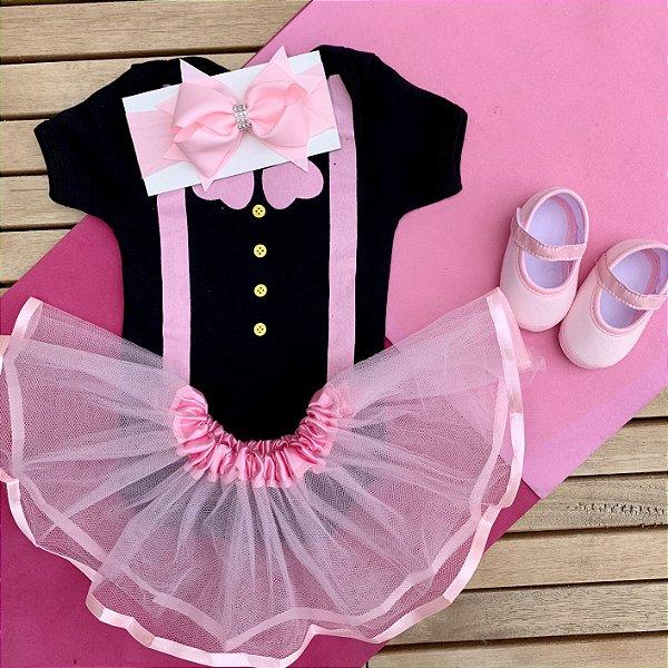 Kit Body Bebê Luxo Tule Mundo Bita e Sapatilha Rosa
