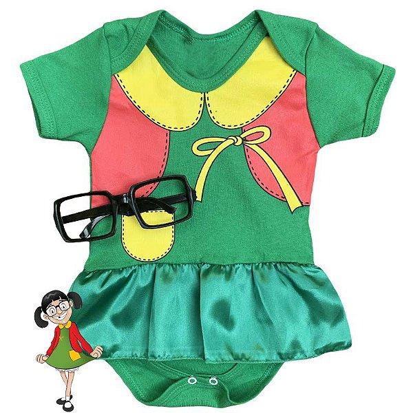 Kit Body Vestido Bebê Chiquinha com Óculos