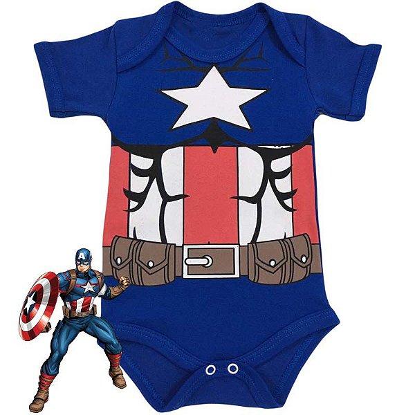 Body Bebê Capitão América Estrela