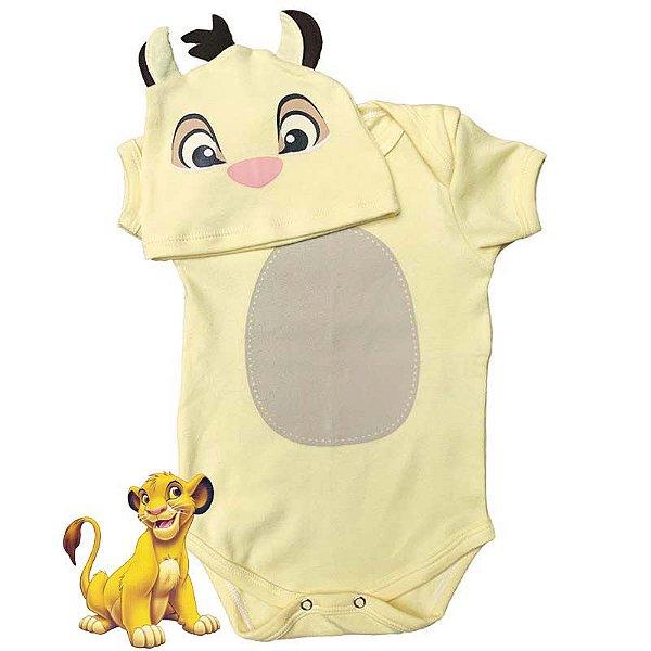 Kit Body Bebê Simba Rei Leão com Touquinha