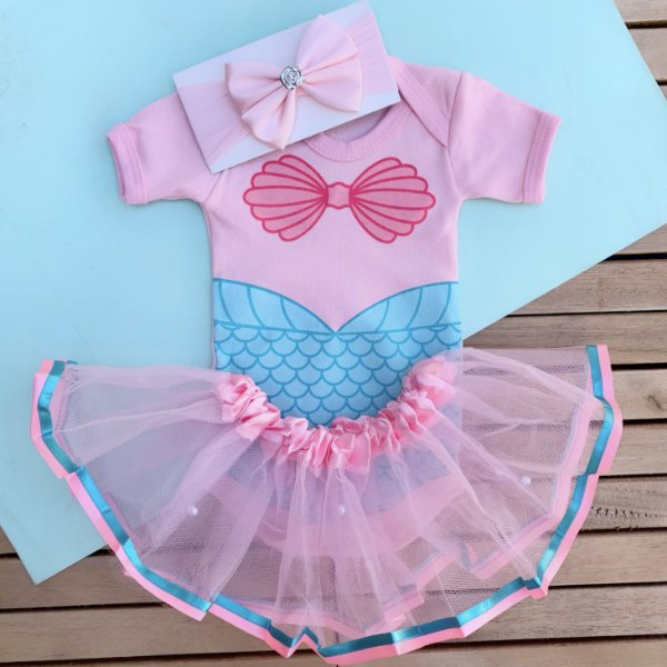 Kit Body Bebê Luxo Tule Ariel Pequena Sereia