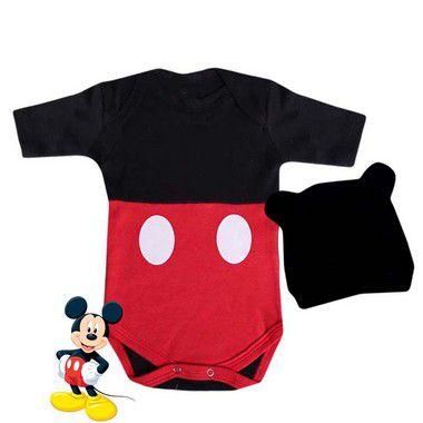 Kit Body Bebê Mickey Mouse com Touquinha Orelhinhas