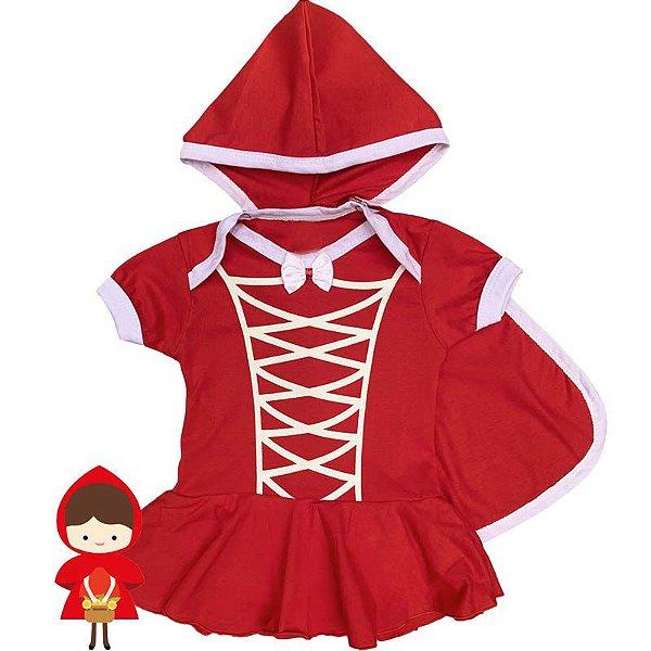 Body Vestido Bebê Chapeuzinho Vermelho c/ Capinha