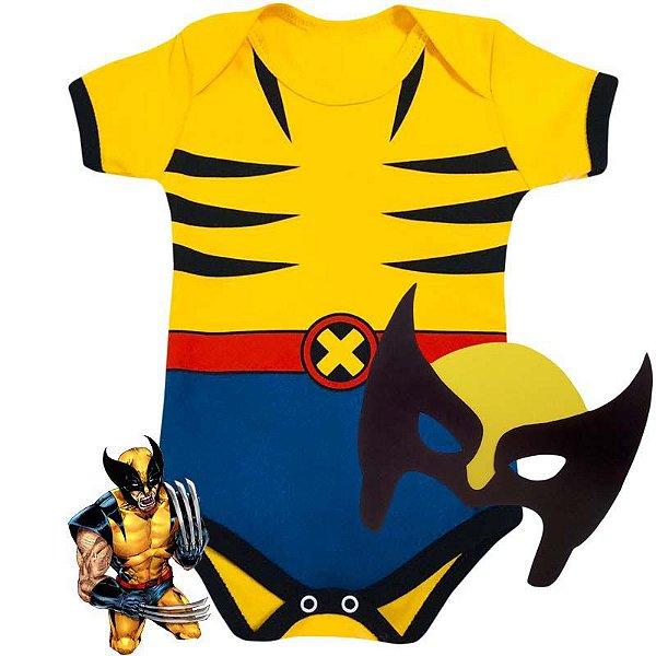 Kit Body Bebê Wolverine com Máscara