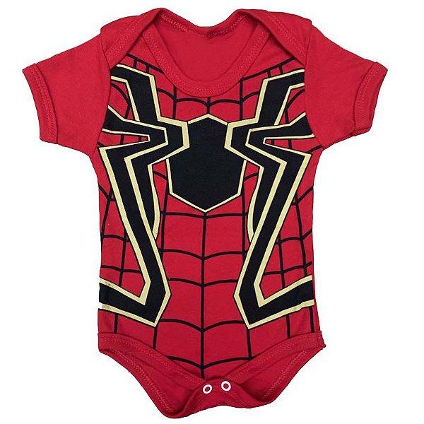 Body Bebê Homem Aranha Teia Vermelha