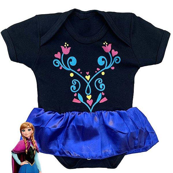 Body Vestido Bebê Ana Frozen