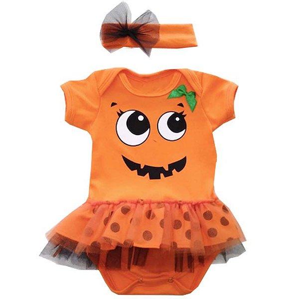 Body Vestido Bebê Halloween Abobóra com Faixa de Cabelo