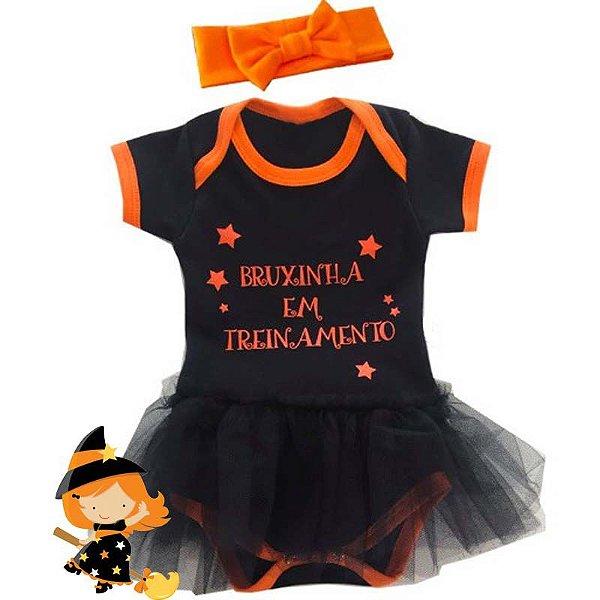 Body Bebê Halloween Bruxinha com Faixa de Cabelo