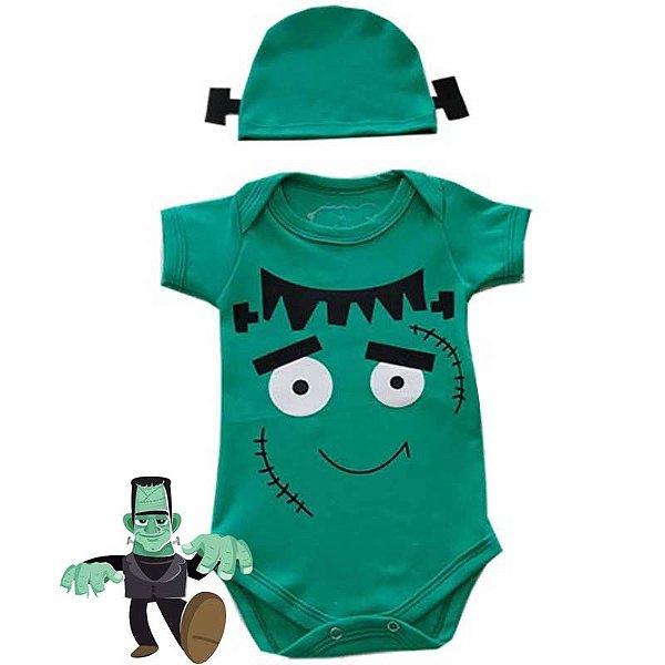 Body Bebê Halloween Frankenstein com Touquinha