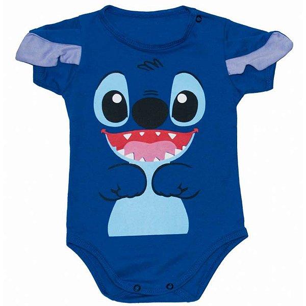 Body Bebê Lillo & Stitch Azul com Orelhinhas