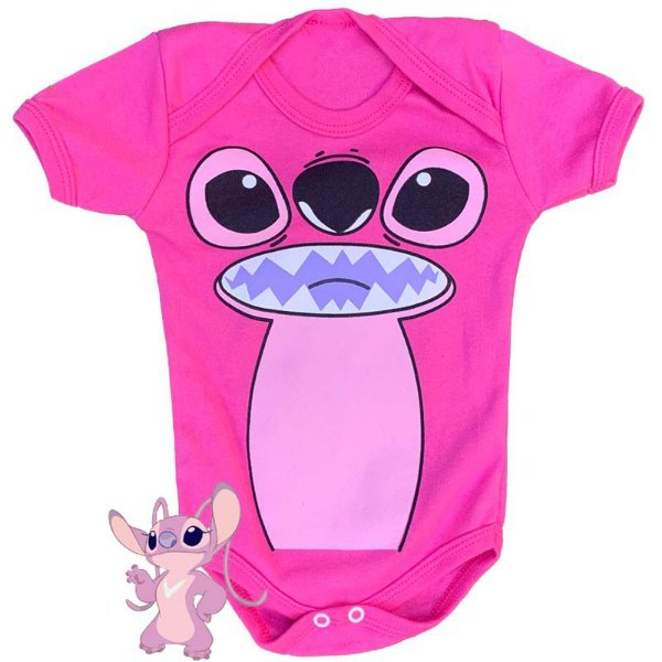 Body Bebê Lillo & Stitch Rosa