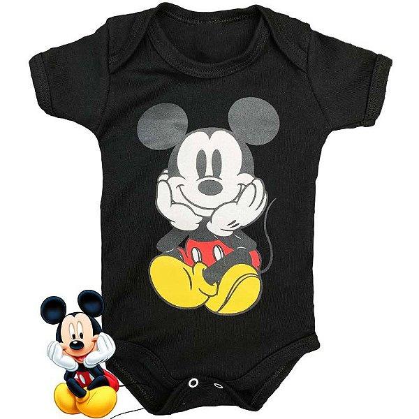 Body Bebê Mickey Fofinho Preto