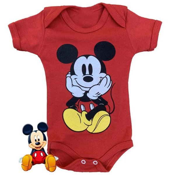 Body Bebê Mickey Fofinho Vermelho