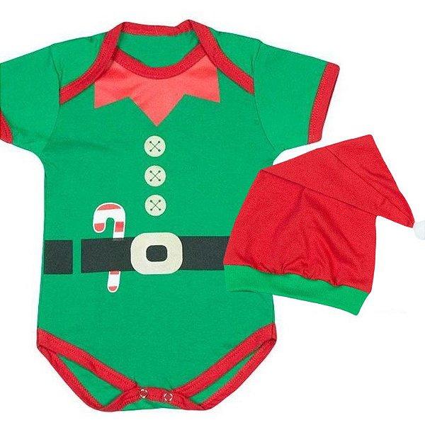 Body Bebê Natal Ajudante do Papai Noel com Gorro