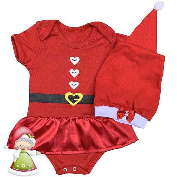 Body Vestido Bebê Natal Mamãe Noel com Gorro