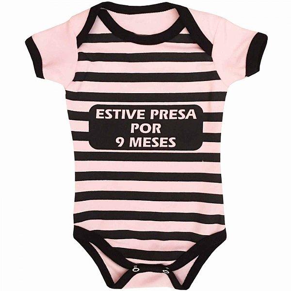 Body Bebê Estive Presa Por 9 Meses Rosa Claro