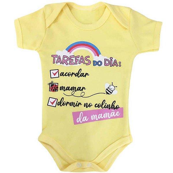Body Bebê Tarefas do Dia Amarelo