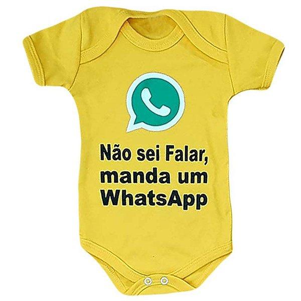 Body Bebê Manda um WhatsApp Amarelo