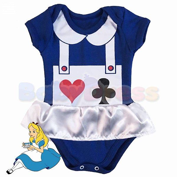 Body Vestido Bebê Alice no Pais das Maravilhas
